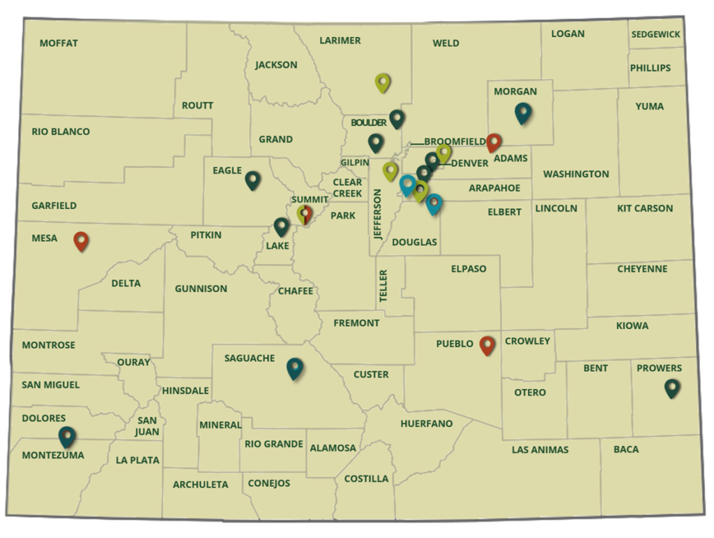 Map of Colorado with location pins in the counties FLTI has had a presence in